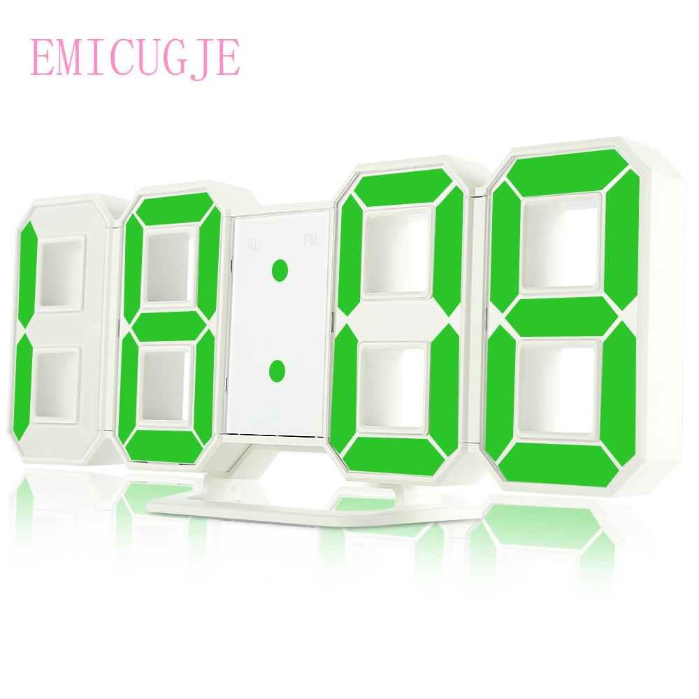3D LED Digital Wall Clocks 24 / 12 Hours Display 3 Nightlight Snooze Function for Home Brightness Levels Dimmable image