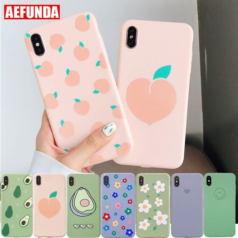 Fashion Peach Avocado Fruits Soft TPU Phone Case For iPhone X XS Max XR 7 8 6 S 6S Plus Coque Cute Girl Flower Silicone Cover