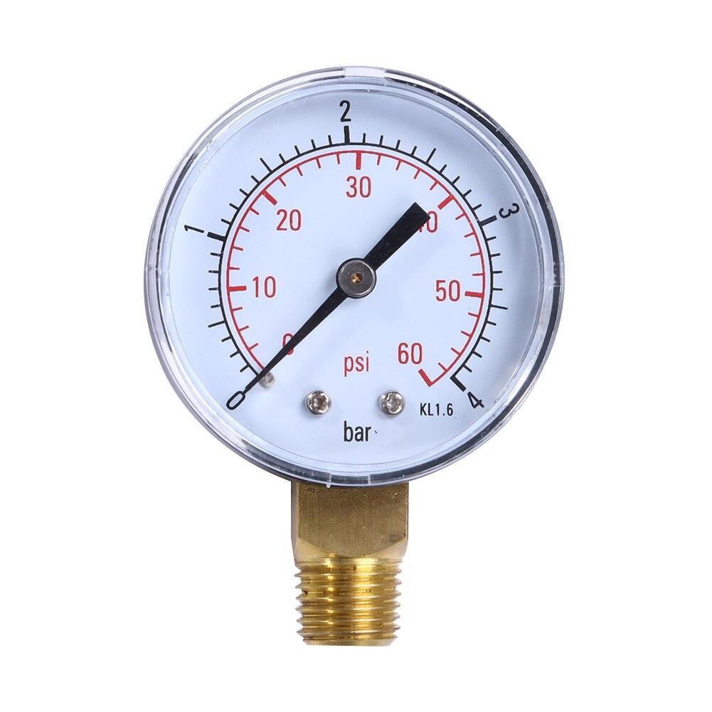 Pool Spa Filter Water Air Oil Vacuum Dry Utility Mini Pressure Gauge 60PSI Side Mount 1/4