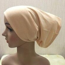 C005 várias cores algodão macio tubo underscarf muçulmano chapéus bandana chapéus internos islâmico pequenos chapéus