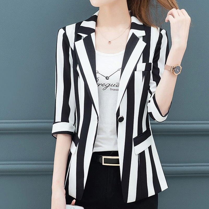 Women blazers 2019 ladies tops black and white blazer feminino harajuku Striped Half  Single Button V-Neck Casual OL tops 0299