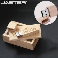JASTER LOGO angepasst holz usb + box usb flash drive echtes gedächtnis stick holz usb-stick 4GB 8GB 16GB 32GB 64GB hochzeit geschenke