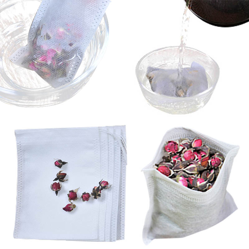 Tea Bags 100Pcs/Lot Empty Scented Drawstring Pouch Bag 5.5*7CM Seal Filter Cook Herb Spice Loose Coffee Pouches Tools