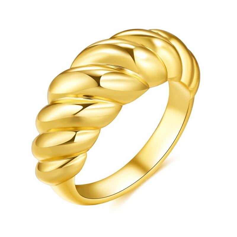 Anéis de croissant para mulher trançado signet chunky dome anel de empilhamento banda jóias anel de indicação