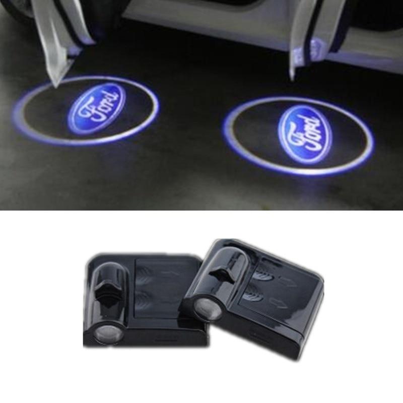1pc Car Logo Ghost Shadow Light Laser Projector Lights For Ford Emblem Focus Kuga Fusion Mondeo Fiesta Transit Mustang Ranger