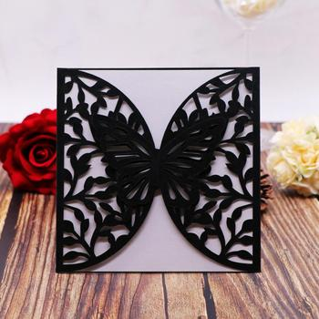 50pcs/lot Hot Sale European Style Wedding Invitation Laser Cut Invitation Wedding Party 3D Butterfly Decoration Greeting Card