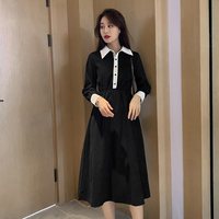 2019 Autumn Winter New Ins Literary Retro French Minor Long Sleeve Women Dress Polo Lapel Button Mid Calf Black Dress 6785