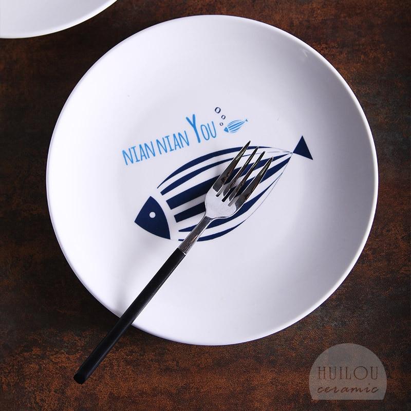 Creative Plates Cartoon Ceramic Plate Steak Dish Plate Fish Every Year Japanese Style Tableware Bowl Dish & Plate Set