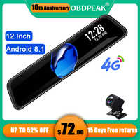 Android Dual 1080P Dash Cam 4G 12 Inch Car Rearview Mirror Stream Media Mirror Car ADAS Super Night Auto Camera Registrar DVRs
