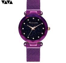 แฟชั่นนาฬิกาข้อมือสแตนเลสRose Goldกันน้ำสุภาพสตรีแม่เหล็กนาฬิกาควอตซ์ 2019 Relogio Femininoของขวัญ