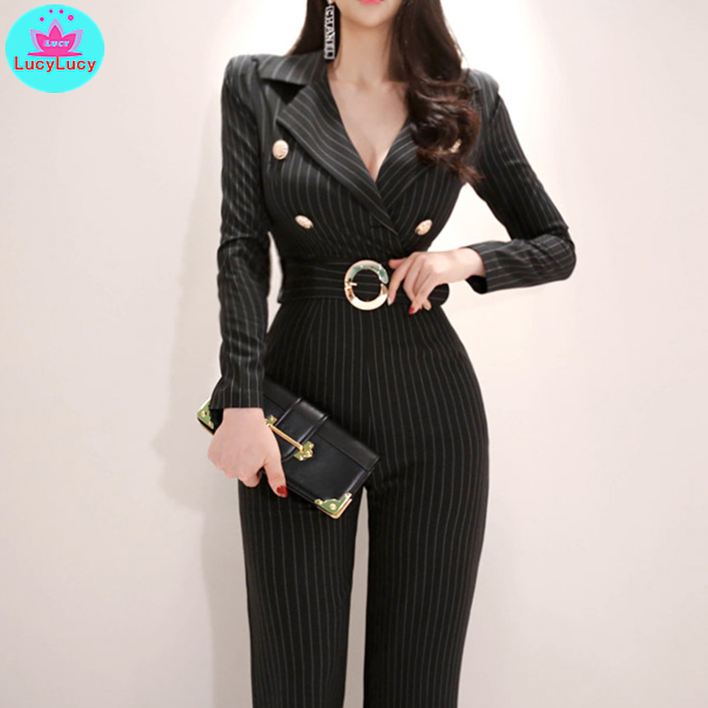 2019 Women's New Korean Temperament Suit Collar Slim Slimming High Waist Strap Wide Leg Jumpsuit