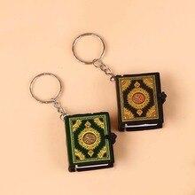 Porte clés, livre coran, lecture arabe, Mini arche, en papier véritable, bijoux musulmans, décoration, cadeau, 1 pièce
