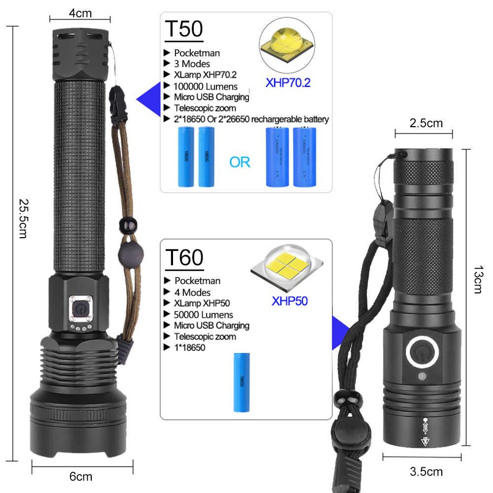 7000LM עוצמה LED פנס XHP70.2 נטענת לפיד XHP50 USB זום פנס XHP70 ציד מנורת דיג שימוש 26650 18650