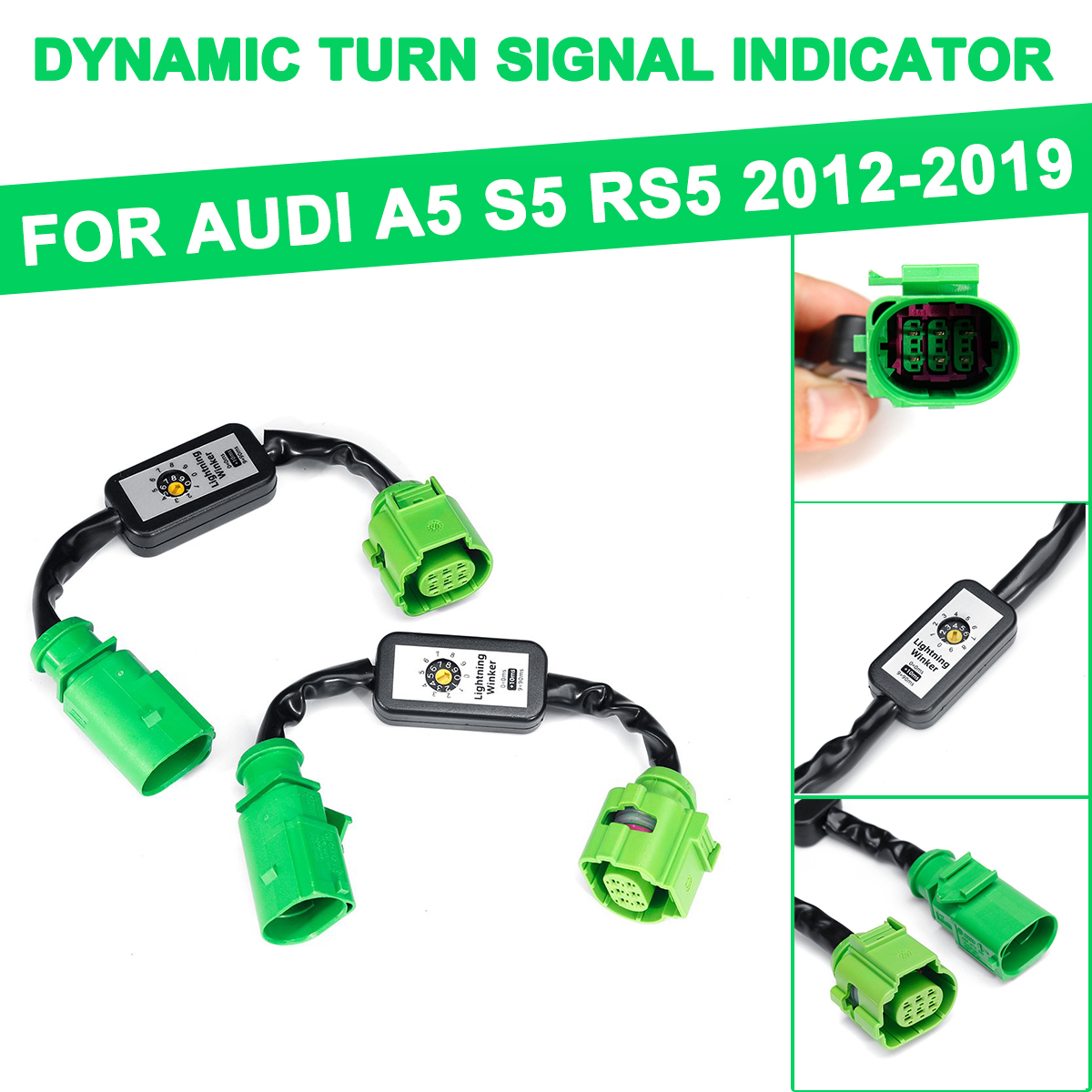 For Audi A5 S5 RS5 2012-2019  2Pcs Dynamic Turn Signal Indicator LED Taillight Module Cable Wire Harness Left & Right Tail Light