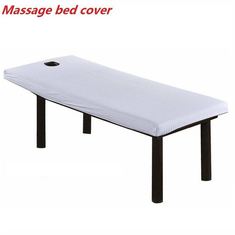 White Beautiful Massage Bed Table Cotton Cover Salon Spa Couch Sheet Bedding With Hole