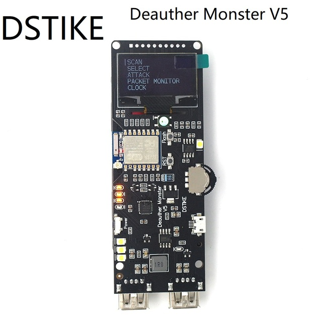 DSTIKE Placa de desarrollo WiFi Deauther Monster V5, ESP8266 18650, protección inversa, antena, funda, Banco de energía, 5V, 2A