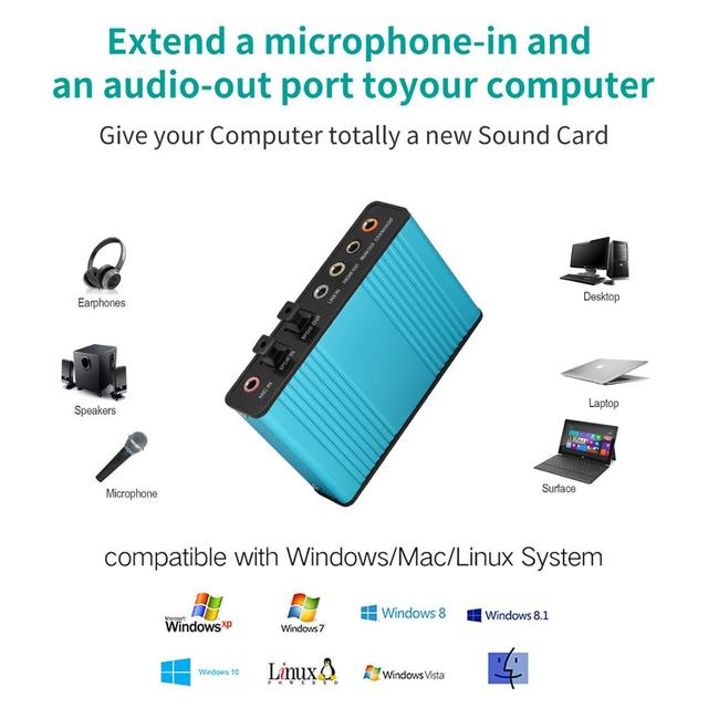 Professional USB Sound Card 6 Channel 5.1 Optical External Audio Card Converter CM6206 Chipset for Laptop Desktop Microphone