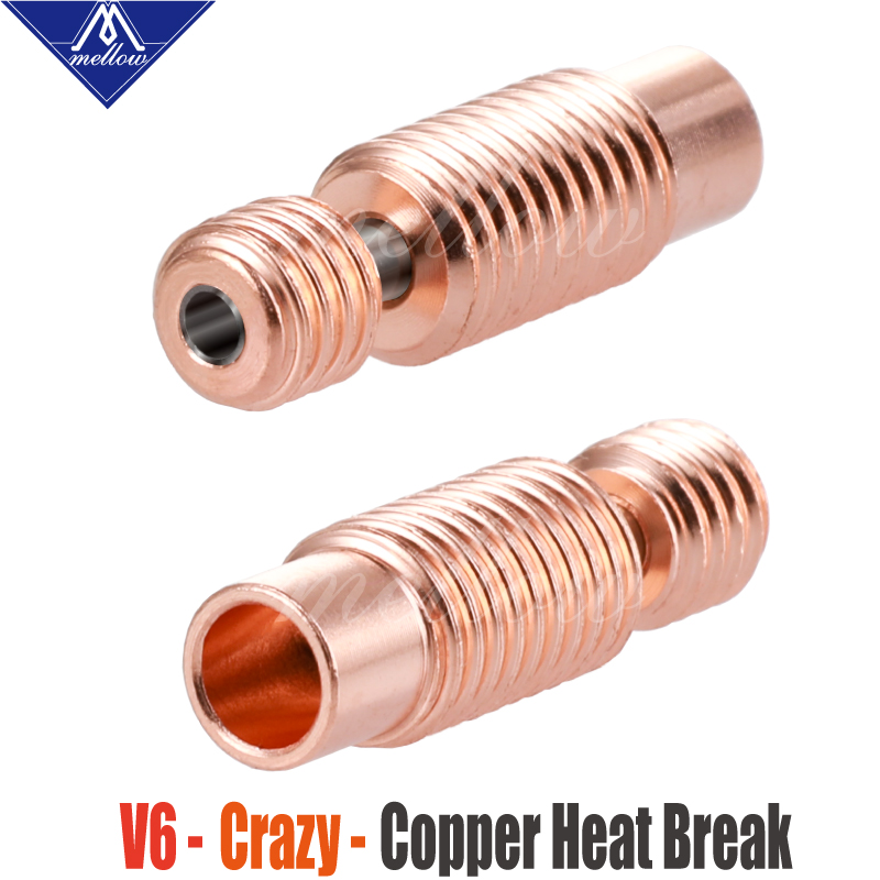 Mellow All-Metal NF V6-Crazy Heat Break Copper & Stainless Steel 3D Printer Nozzle Throat For 1.75mm