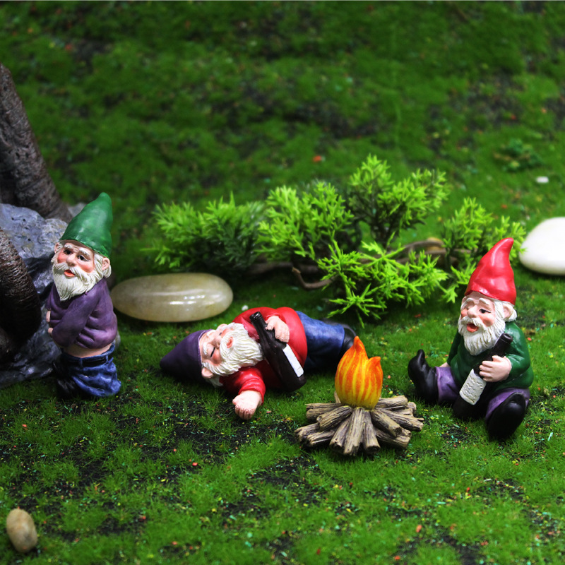 1pcs Mini Drunk Gnome Dwarfs Funny Resin Statue Cute DIY Bonsai Decoration For Desk Outdoor Garden Sculpture Decor Dropshipping