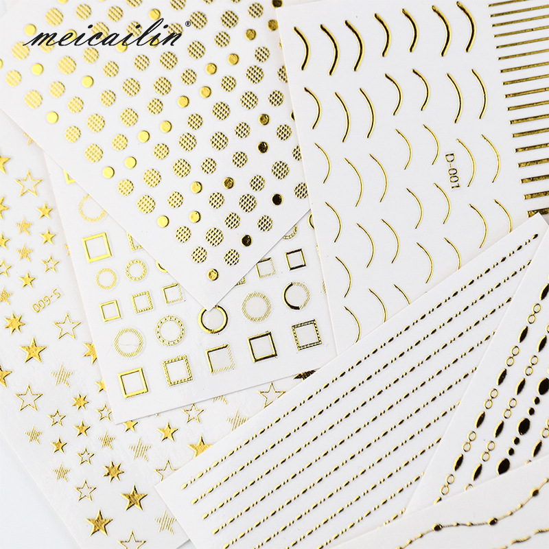 Japanese-style Manicure Gold Foil Stickers 3D Stickers Nail Sticker English Lettered Snowflake Stereo Gum Nail Polish Stickers
