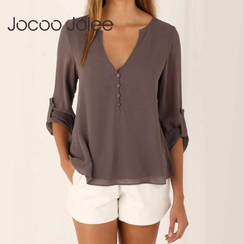 Jocoo jolee moda feminina blusa 2019 feminino plus size 5xl manga longa chiffon blusa elegante senhora solta tops chique roupas femininas