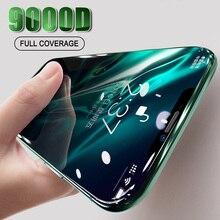 Protector de pantalla de vidrio templado curvo 9000D para iPhone 12, 11 Pro, XS, Max, XR, X, 7, 8, 6s Plus, SE