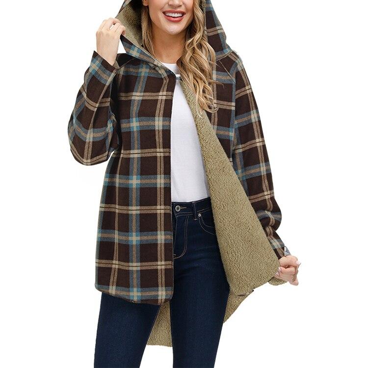 caldo a maniche lunghe Giacca invernale da donna in pile Sherpa foderata in denim stile casual AlvaQ