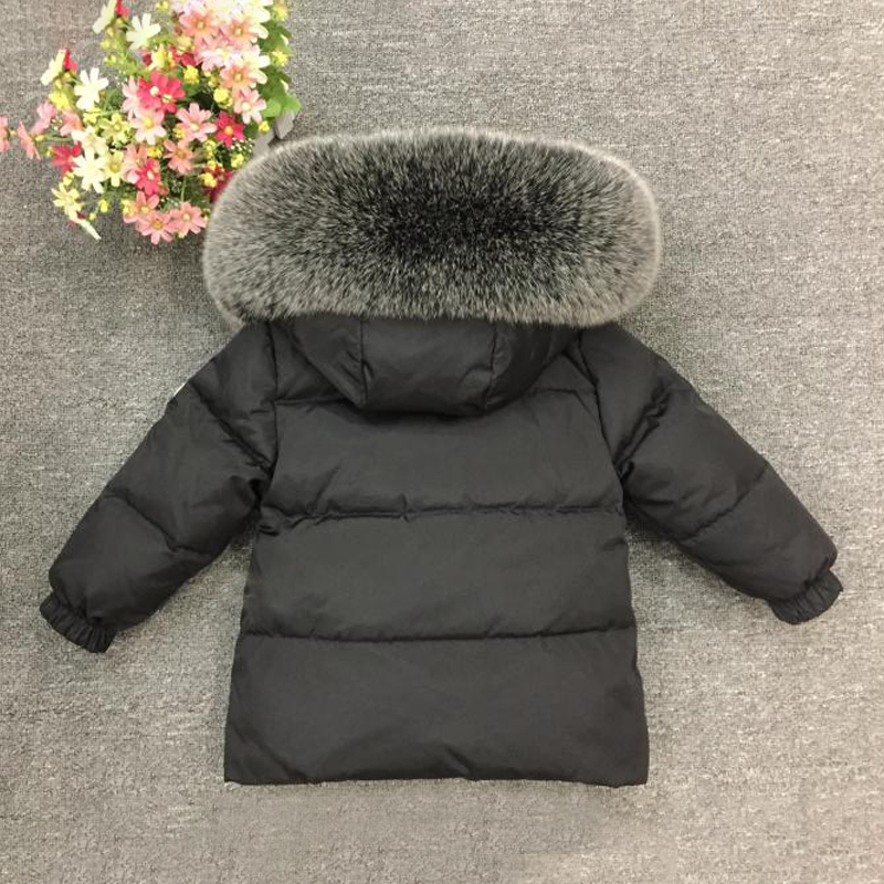 Image 4 - 2019 Children's Winter Suit for Girls Warm Down Fur Boys Snow Sutis Sports Real Fur Kids Clothing Sets Windproof Child Outfits-in Clothing Sets from Mother & Kids