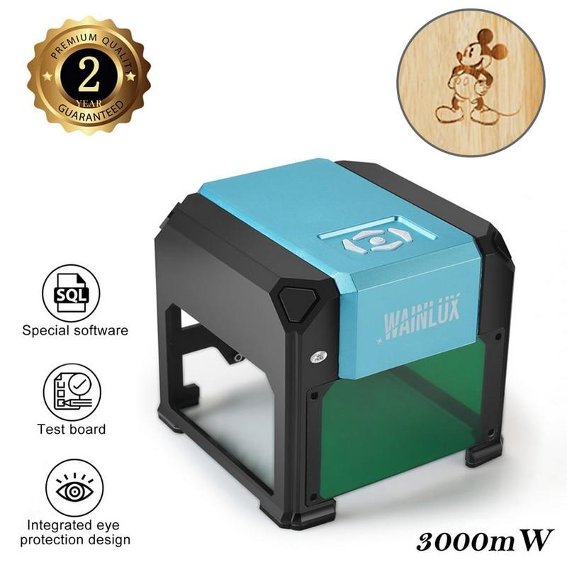 3W USB bureau Laser graveur gamme 80x80mm Machine Logo bricolage marque imprimante Cutter CNC 3000mw Laser sculpture gravure Machine