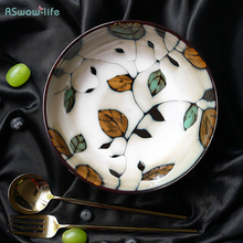 Japanese Style Ceramic Tableware Hand-Painted Leaf Porcelain Ramian Soup Bowl Household Salad Bowls Creative Dinner Plate Dishes salad bowl porcelain plate japanese style home decor tableware ceramic dinner bowls soup noodle rice bowl