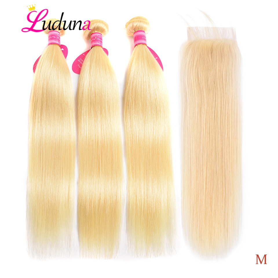 Luduna Straight Hair Bundles With Closure 613 Blonde Bundles With Frontal 150% Remy Human Hair Extensions For Black Woman image