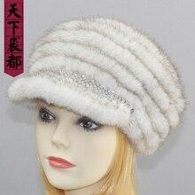 Россия леди натуральная ручная вязка норковая меховая шапка зимняя теплая натуральная норковая меховая шляпа козырек Женская модная норка меховые шапки