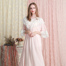 Sleepwear Dress Cotton Nightgown White Green Summer Pink Lace 6-Color Loose