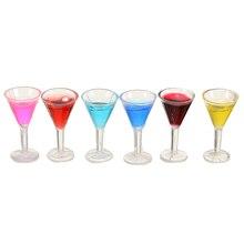 6 шт. миниатюрные цветные для вина коктейльное стекло для 1:12 кукольный домик питьевой бар украшение детская игрушка кукольный домик аксессуары