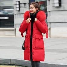 Long cotton jacket Female fashion jacket pocket faux fur hooded coat winter women Parker coat warm long coat faux shearling hooded coat