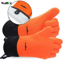 Walfos 1 Stuk Lange Siliconen Keuken Handschoenen-Bbq Grill Handschoenen Hittebestendige Koken Handschoenen Voor Grillen Ovenwanten Handschoenen