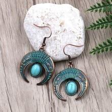 Verdigris Patina Plated Green Ox Horn Shape Charm Pendant Earring Crescent Moon Bohemian Ethnic Women Jewelry