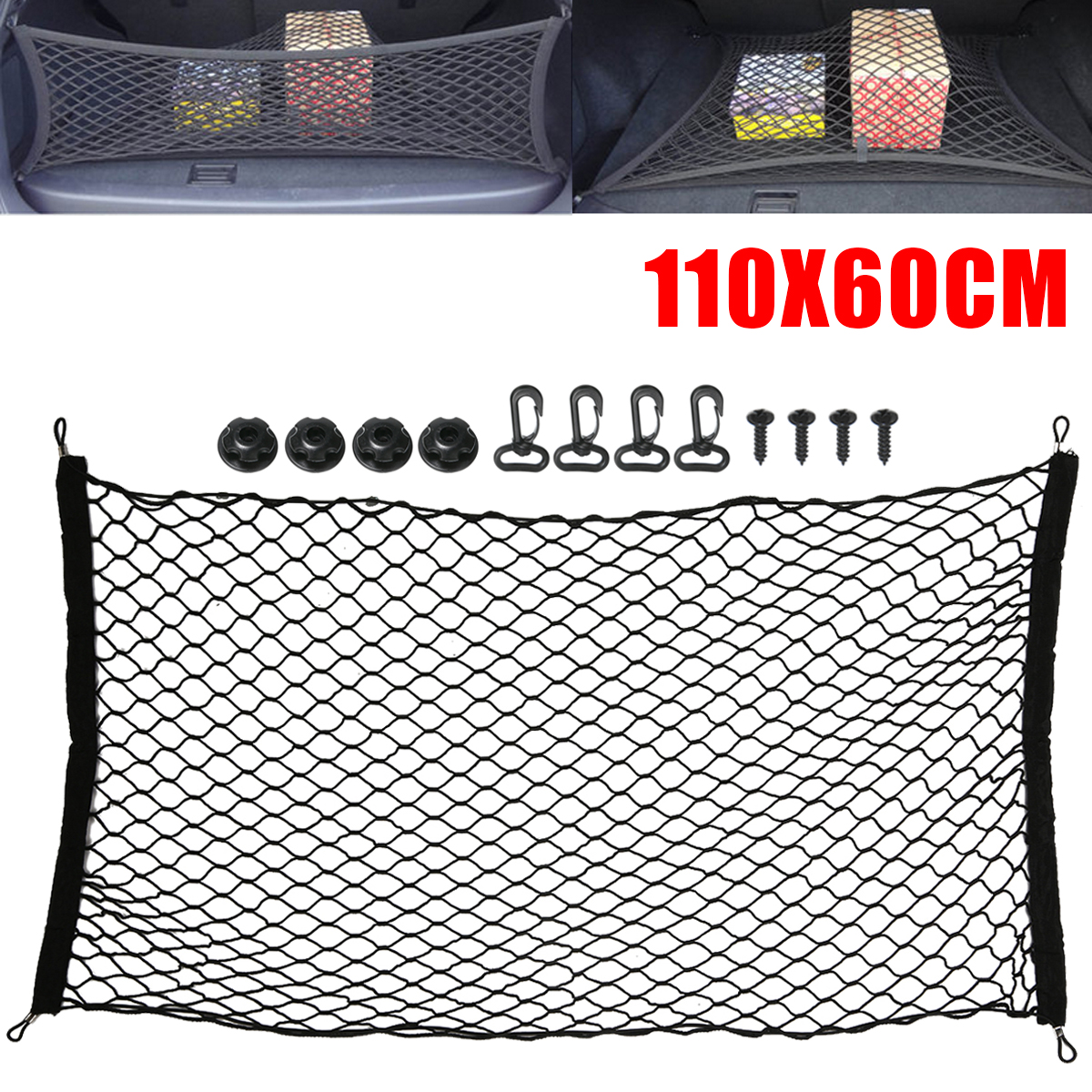 110x60cm Car Styling Car Cargo Net Nylon Elastic Mesh Luggage Storage Net For SUV Pickup Truck in Nets from Automobiles Motorcycles