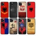 Черный чехол из ТПУ для iphone 5 5s se 2020 6 6s 7 8 plus x 10 XR XS 11 12 mini pro MAX, задняя крышка с флагом Албании