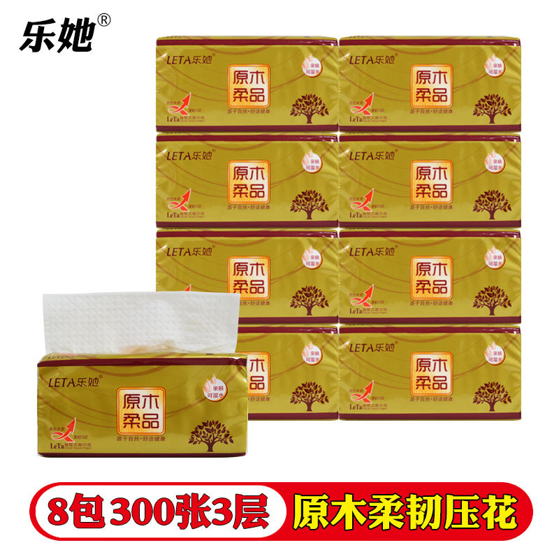 Le She 8 Packs Of 300 3 - Layer Log Non-fragrant Printing Household Paper Towel Face Tissue Paper Napkin Toilet Paper