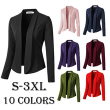 Zogaa Spring Autumn Womens Fashion Blazers and Jackets Plus Size Blazer Feminino Long Sleeve Notched Causal Slim Fit Women Coat