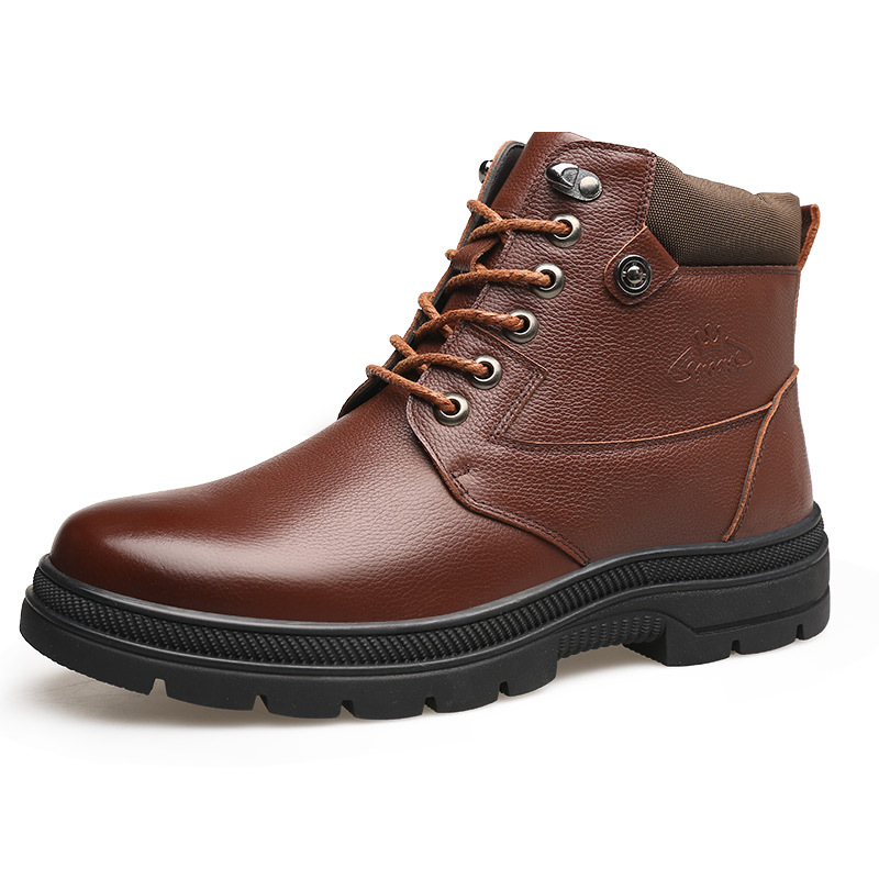 <font><b>30</b></font> Degrees Below Zero Winter Boots Men Genuine Leather <font><b>Shoes</b></font> Casual Men Ankle Boots Warm Plush Cow Leather Male Footwear A1867 image