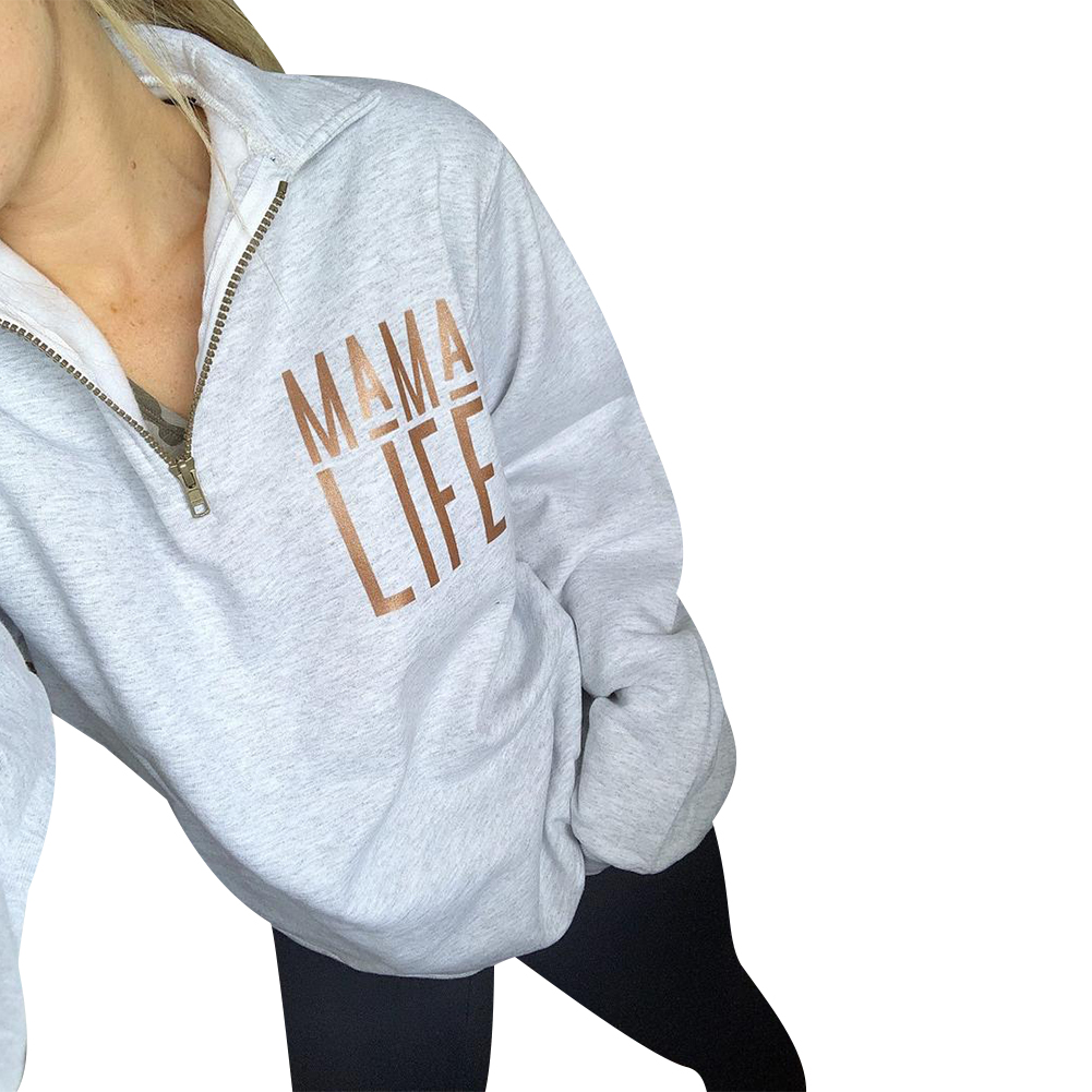 Woman's White Sweatshirt Zippered Pullover  Long Sleeved Life Letters Printed Outdoor Sporty Autumn Sweatshirts Tunic
