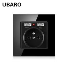 UBARO-prise électrique, panneau en verre cristal 16a, normes françaises Ac100-250V, 86x86, prise électrique Murale Usb 5V 2100ma