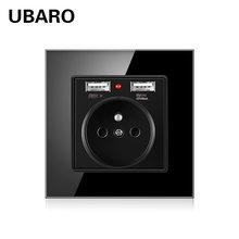 Электрическая розетка для стеклянной панели ubaro 86*86 французская