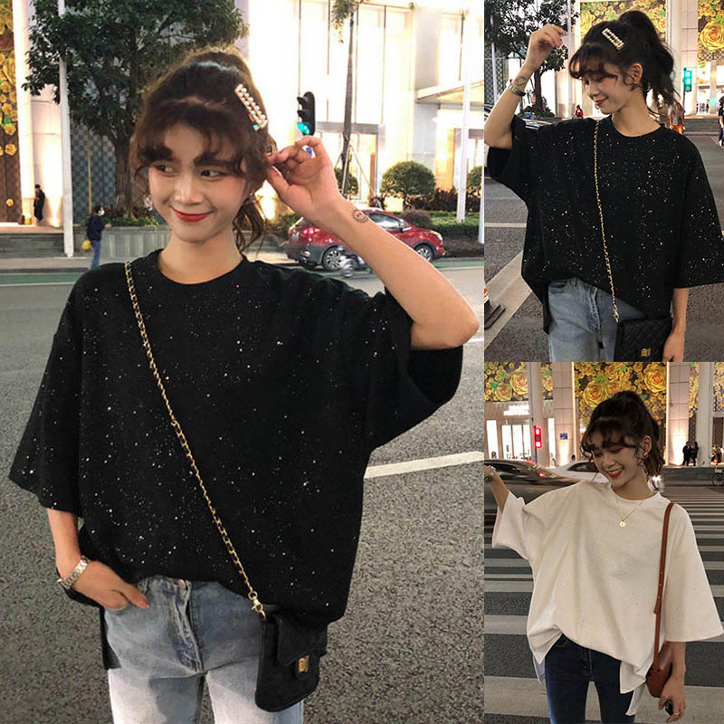 Women Tops Solid Color Half Sleeves Round Neck Baggy T-shirts For Summer -OPK