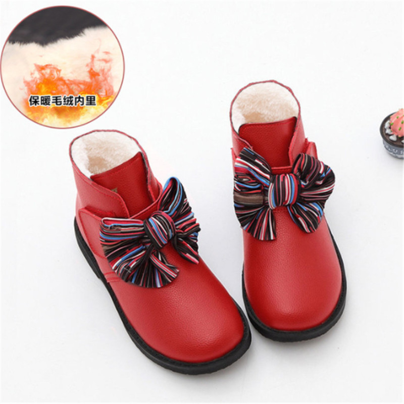 Fashion Kids Boots Girls Size 26-36 Cute Bow Girls Ankle Boots Princess Pu Leather Children Winter Shoes