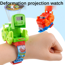 One-key Deformation Cartoon Dinosaur Watch Toys Automatic Transform Robot Model Car Funny Educational Gifts Kids Projector Toy