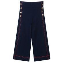 Runway Striped Ladies Wide Leg Pants Women Bottom Summer High Waist Warp Buttons