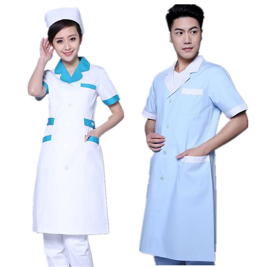 Woman White Blue Nurse Medical Hospital Uniform Beauty Salo Clinic Work Wear Full/Short Sleeve Scrub Lab Coat Medical Robe